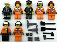 Lego 7 New Construction Minifigures and Police Officer Figures Town City Team