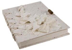 Flaura Bark Journal White, A5 Plain Pages - Handmade by Life Arts