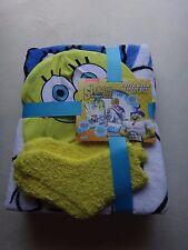 SPONGE BOB SET of 3 Kid's Boy's Girl's Cozy BLANKET Plush SOCKS Cap MULTI COLOR