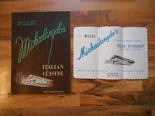 Old Vintage '55 Menu Mille's Michaelangelo's Italian Cuisine Milwaukee Wisconsin