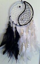 "Cherokee 21"" Dream Catcher, Black & White, Yin Yang, Feathers, Wood Beads"
