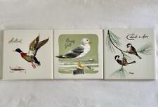 3 Vtg. Screencraft Bird Tiles - Mallard - Chickadee - Herring Gull - Howard