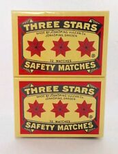 Swedish Three Stars Safety Matches 3 box/Cerillos Tres  Estrellas 3 cajitas