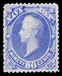 GENUINE SCOTT #O45 MINT OG LH 1873 90¢ NAVY OFFICIAL SCV $1050 - ESTATE CLOSEOUT
