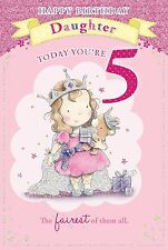 """Daughter's 5th Birthday Card - 5 Today Princess Holding Gift & Bear 9"""" x 6"""""""