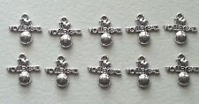 10 I LOVE VOLLEYBALL ANTIQUE  SILVER CHARM-METAL ALLOY-TEAM-SPORTS-GIFT