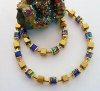 Würfelkette Kette Hämatit gold Glas marmoriert royal blau türkis grün  068d