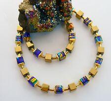 TRAUM WÜRFELKETTE 6mm HÄMATIT GOLD GLAS marmoriert royal blau türkis grün  068d