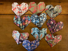 Origami Paper Hearts Lot Of 10 Valintines Day Hand Folded.
