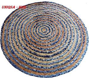 Rug Jute & denim handmade carpet 120x120 cm reversible home living decor  Rug