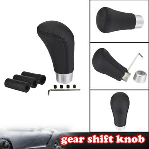 Manual Leatherr Gear Stick Shift Knob Shifte Lever Universal Aluminium
