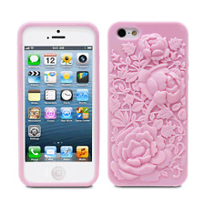 Fosmon for iPhone SE 5S 5 Pink 3D Sculpture Silicone Rose Cover Flower TPU Case