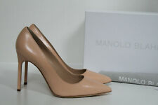 New sz 8.5 / 39 Manolo Blahnik BB Classic Nude Leather Pointed Toe Pump Shoes
