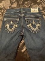 True Religion Womens Jeans Size 25 Becky Low Rise Bootcut Dark Wash Stretch USA