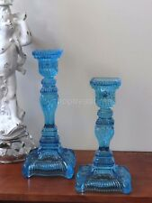 Antique Victorian French Style Blue Glass Candle Holder Paris Elegance