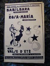 Partition Balilbara Rosa Maria Valse d'été F Couteron