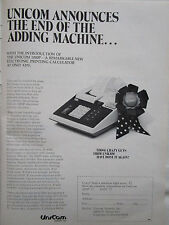 1972 PUB UNICOM 1000P ELECTRONIC PRINTING CALCULATOR ORIGINAL AD
