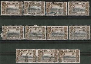 Sierra Leone 1938 - 44 KGV1 2/- Black & Sepia x 11 Stamps (1 strip of 3) SG 197