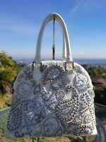 "Kippys ""Ashbury"" Structured Tote Handbag Swarovski Crystals, Pearls, Studs $1360"