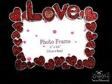 LOVE PHOTO FRAME RED COLOUR LOVE HEART & FLOWERS DESIGN STYLISH FANCY GREAT GIFT