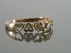 Estate 10k Rose Gold Natural  Diamond  Promise Engagement  Wedding Promise Ring