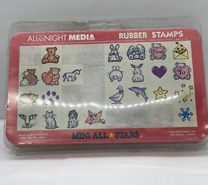 Vintage Wood Rubber Stamp  Set All Night Media Mini All Stars Animals