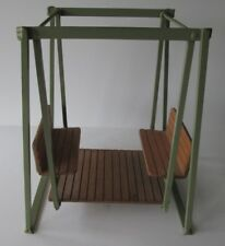 Rare/Unusual Doll Size Steel Frame-Double Wood Face-to-Face Seats-Glider Swing