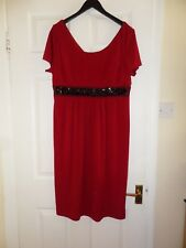 Joanna Hope Red Beaded Party Dress Sz UK 14 Wedding Evening Xmas Party New Year