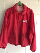Vintage Authentic Budweiser Bowtie Red Satin Baseball Snap Jacket Size XL