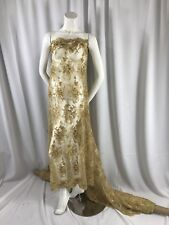 Elegant Gold Flowers Embroider And Beaded On A Mesh Lace-Nightgown-Sold By Yard.