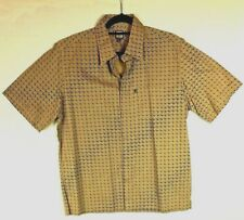 Function Jeans Co. Mens Short Sleeved Shirt Mustard Blue Patterned Size L