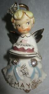 Vintage Lefton MAY BIRTHDAY ANGEL w MOTHERS DAY CAKE