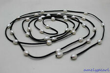 """wholesale 96"""" Black Leather long necklace 36beads white Freshwater pearl 10x12mm"""