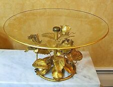VINTAGE ITALIAN COMPOTE GOLD COLORED TOLE METAL ROSES GLASS COMPOTE DISH