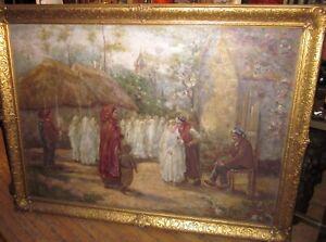 """Antique 19th Cent. Naturalist Oil Painting After Jules Breton """"Les Communiantes"""""""