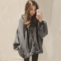 Women Hoodies Long Sleeve Letter Printing Loose Fleece Lined  Zipper Korean