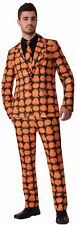 PUMPKIN SUIT AND TIE Medium Costume Men Jack-O-Lantern Print Halloween Cosplay