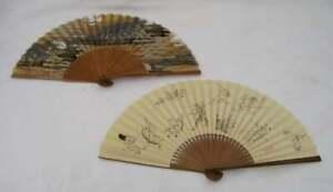 2 vintage japanese chinese hand painted silk fan bamboo rabbit monkey landscape