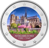 2 Euro Gedenkmünze mit Notre Dame coloriert mit Farbe  /  Farbmünze Frankreich