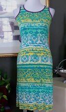 Soprano Teal/Yellow/Purple Jersey Knit Tank Dress M (10-12)