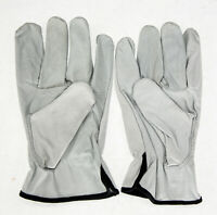 12 Pair Pack, Cow Hide Grain Leather Drivers, Work Safety Gloves (PPE), Size XL