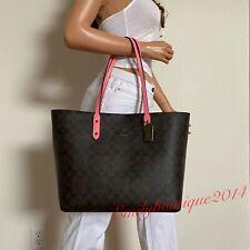 Coach Signature Brown Pink Town Tote Shoulder Bag 76636