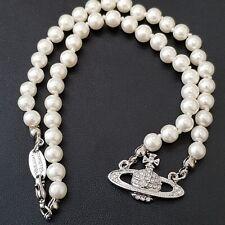 Vivienne Westwood Mini Bas Relief Pearl CHOKER Necklace - Sliver
