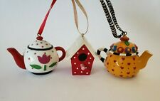 Mary Engelbreit Lot of 3 Ornaments 2 Tea Pot Hearts Flower Bird House Red White