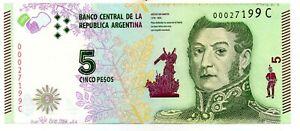 ARGENTINA NOTE 2016 5 PESOS Series C -  P#359 -  EC#813c - XF