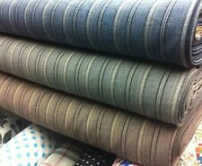 "Top Quality Designer Blue Linen Viscose B/w Strip Fabric 60""wide 5.99 Per Metre"