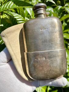 Victorian Era Sterling Silver .925 Flask w/ Cup Late 1800's London Birmingham