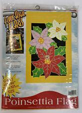"VTG Flying High Flags Christmas Poinsettia House Flag Heavy Nylon 38""X 40"" NOS"