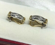 14k Yellow White Gold 1/2 Carat Diamond SI Pave Channel Set Omega Hoops Earrings