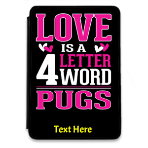 Love Pugs For iPad-Mini-1-2-3-PU-Leather Flip Case Cover Personalise Black Dogs